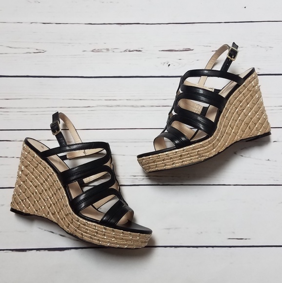 4d78001a16a NIB Jennifer Lopez Black Strappy Wedge Sandals